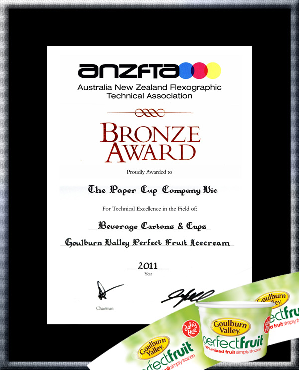 "TPCC proudly won ANZFTA Top Award in ""Beverage Cartons & Cups Halftone"" in 2010 - Bronze_Award_IceCream5oz"