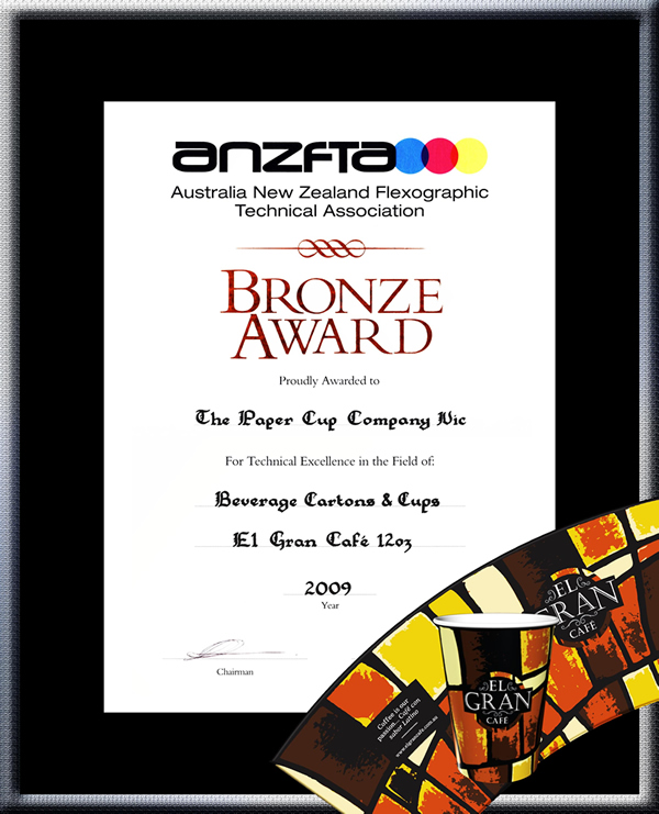 "TPCC proudly won ANZFTA Top Award in ""Beverage Cartons & Cups Halftone"" in 2009 - HighlyCommended_ElGran12oz"